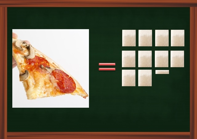 ピザ1ピースは炭水化物量を角砂糖に置き換えると10.2個分になる