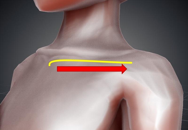 デコルテマッサージ:鎖骨の下をなぞるように外側へ流す