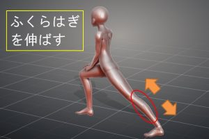 足を前後に開き、ふくらはぎを伸ばす