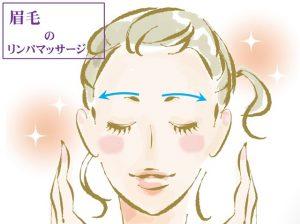 眉毛に沿って顔の内側から外側にリンパマッサージ